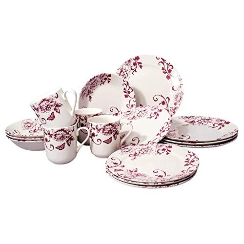 Tudor 16-Piece Premium Quality Round Porcelain Dinnerware Set, Service for 4 - DECO CHIC, See 10 Designs Inside! (Rooster Pattern Dinnerware)