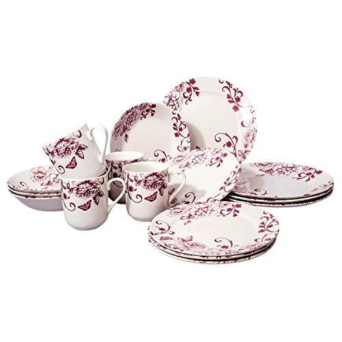 Tudor 16-Piece Premium Quality Round Porcelain Dinnerware Set, Service for 4 - DECO CHIC, See 10 Designs - Deco Porcelain