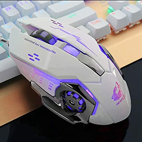 OUYAWEI Ergonomic Pro Wired LED Light 4000DPI Optical USB Gamer Gaming Mouse Black