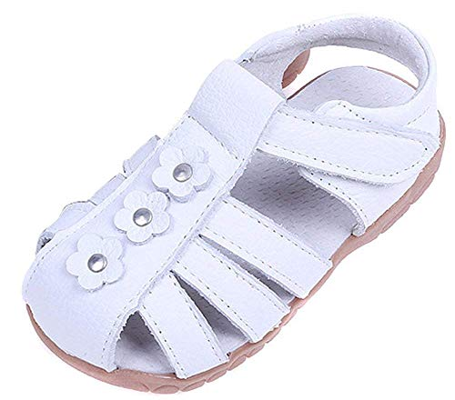 Femizee Girls Casual Leather Closed Toe Flower Princess Dress Sandal(Toddler/Little Kid),White,1508 CN25]()