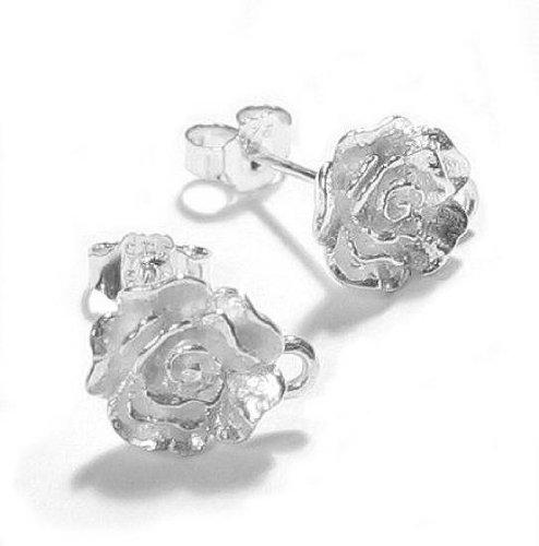 2 pcs .925 Sterling Silver Ball Rose Stud Earrings Loop Post 9.5mm w/clutches/ear nut/Findings/Bright