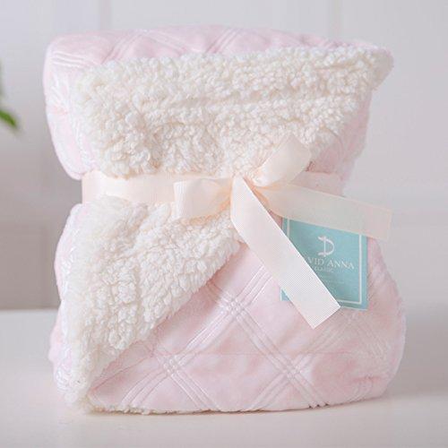 Znzbzt Autumn winter newborn baby blanket double thick coral velvet Children blanket flannel warm baby blankets,75cmx100cm, pink box