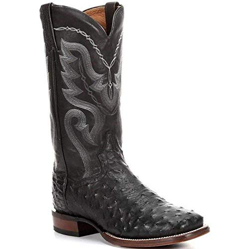 (Men's Dan Post Chandler Full Quill Ostrich Boots Handcrafted Black)