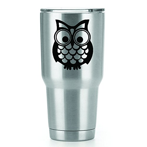 Cute Owl Vinyl Decals Stickers (2 Pack!!!) | Yeti Tumbler Cup Ozark Trail RTIC Orca | Decals Only! Cup not Included! | 2-3 X 2.5 inch Black Decals | KCD1076 ()
