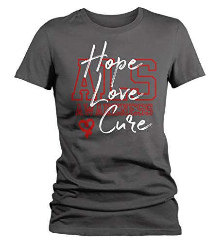 Cure T-shirts Als (Shirts By Sarah Women's Hope Love Cure ALS T-Shirt Red ALS Shirt ALS Tshirt (Charcoal 2XL))