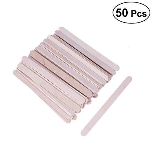 Vosarea 50PCS Natural Wood Ice Cream Sticks Craft Popsicle Treat Sticks Ice Pop Sticks for DIY Crafts Creative Designs -