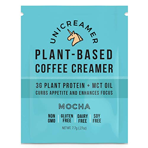 Unicreamer Vegan Non Dairy Coffee Creamer (New & Improved) - Single Serve Individual Packets With Pea Protein Powder & MCT | Eco Friendly, Keto & Gluten Free Plant Based (Mocha, 12)