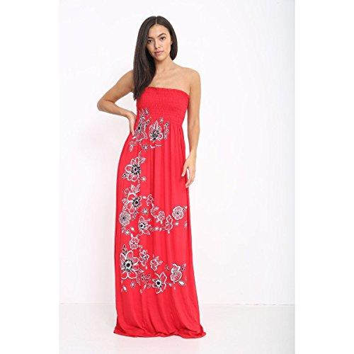 Ladies Flower Dress Sheering Chunky Red Sleeveless Party Womens Dress Printed Maxi 1Yf7nw5q