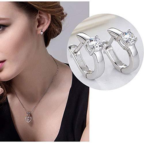 1Pair Chic Nice White Crystal Rhinestone Womens Hoop Earrings Ear Studs Sale