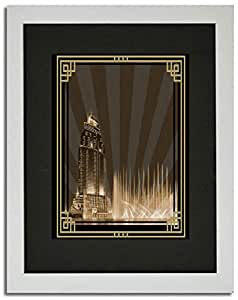 Address Hotel Down Town- Sepia With Gold Border No Text F02-m (a4) - Framed