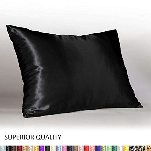 Shop Bedding Luxury Satin Pillowcase for Hair - Standard Satin Pillowcase with Zipper, Black (1 per Pack) - ()