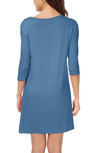 Casual Femmes Robe Robe avec Shirt Droite 3 Bleu Poches 4 Urban Robe GoCo Manche Tee Indigo Trapze 5xXRw1Eq