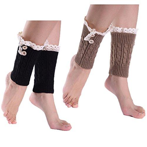 Price comparison product image BJ Wardrobe 2 Pairs Women Leg Warmers Lace Trim Knit Crochet Boot Cuffs Black and Kahki