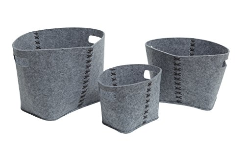Abington Lane Set of 3 Oval Nesting Felt Baskets with Handles - Decorative Baskets of Different Sizes to Accent Any Room (Heathered Grey Felt)