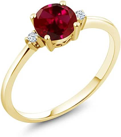 1.03 Ct Round Red Created Ruby White Created Sapphire 10K Yellow Gold Ring