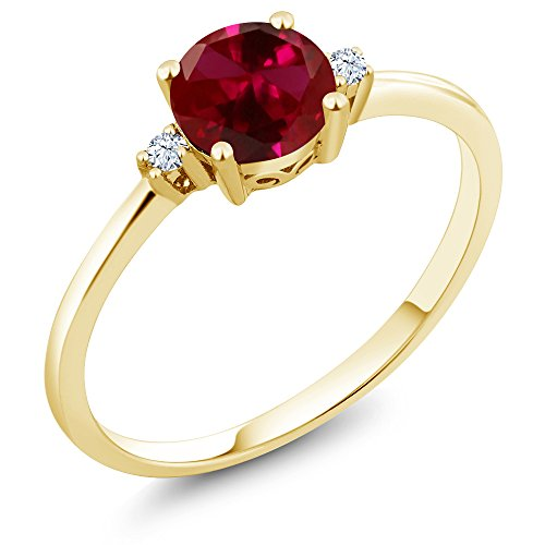 Round Ruby Solitaire (10K Yellow Gold Engagement Solitaire Ring set with 1.03 Ct Round Red Created Ruby and White Created Sapphires (Ring Size 5))