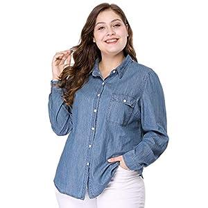 Women's Plus Size Long Sleeve Chest Pocket Chambray Shirt
