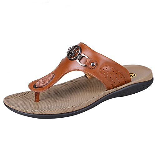 Flip flop Sun Leather and Lorence Mens Outdoor Slipper Brown Thong Indoor Fashion Shoes Sandals Beach vPHZqwvSf
