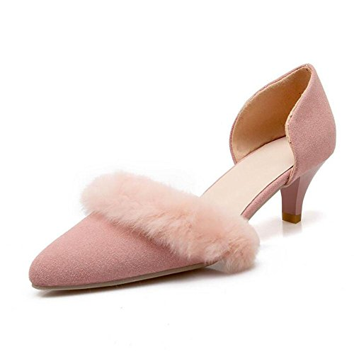 Matte européenne cuir Pointu faible talon sandales femme en peluche Décoration , pink , 37