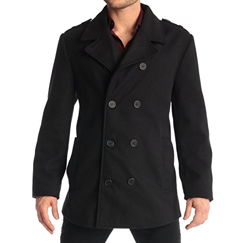 ns Wool Pea Coat Double Breasted Jacket Black XL (Fitted Wool Blend Coat)