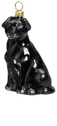 (Joy to the World Collectibles European Blown Glass Pet Ornament, Labrador Retriever, Black)