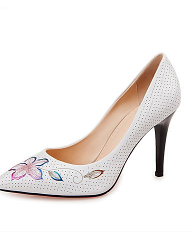 uk6 Casual cn39 uk3 Azul mujer Oficina Blanco Stiletto ZQ Puntiagudos Tacones Tac¨®n Trabajo Tacones cn34 eu39 white us5 white Cuero eu39 y us8 cn39 de eu35 us8 uk6 white Zapatos fqnwwHOUP