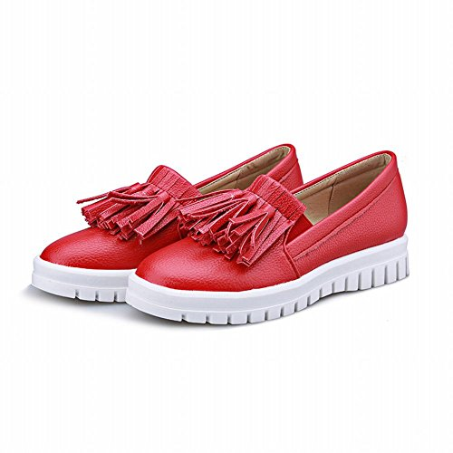 Charm Foot Mujeres Casual Con Flecos Zapatos De Plataforma Mocasines Rojo