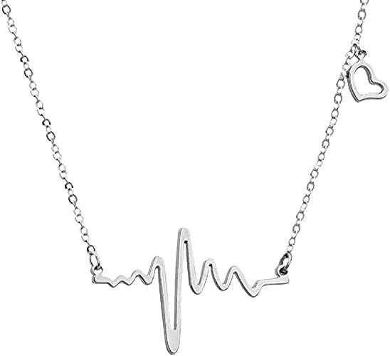 Collier Doré Coeur Rythme Cardiaque Accessoire Bijou Amour
