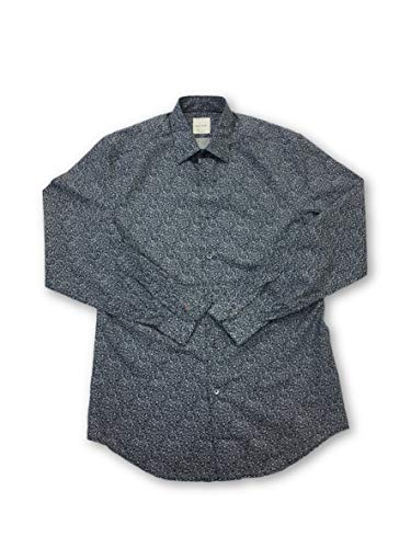 London Size Paul In 17 Smith Navy Cotton Shirt cpyTy7ZW