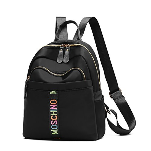 Coolives Mochilas de mujer en nylon Moda casual ligero pequeña mochila de viaje para niñas mujeres negras Negro 1