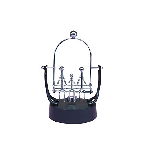 PROW Stainless Steel Frame Family 3 Members Swings Sculpture Model  Perpetual Motion Balance Toy Newtons Cradle Best Office Desktop Decor  Figurines