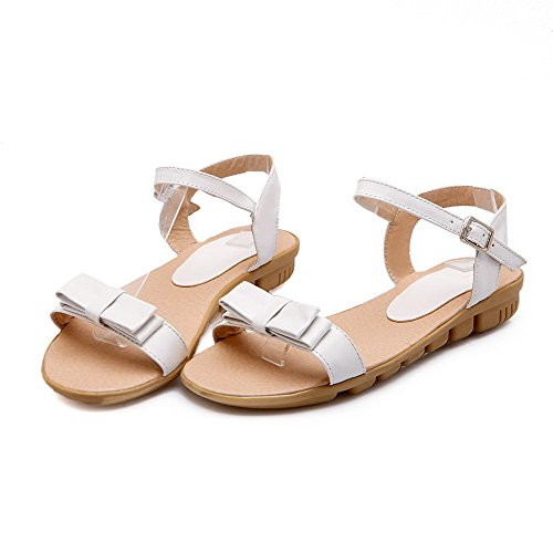 Buckle Solid Open PU Toe Women's Low White Sandals heels AllhqFashion 17v5n