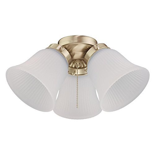 - Westinghouse Lighting 7784500 Three LED Cluster Ceiling Fan Light Kit, Polished Brass Finish with Frosted Ribbed Glass