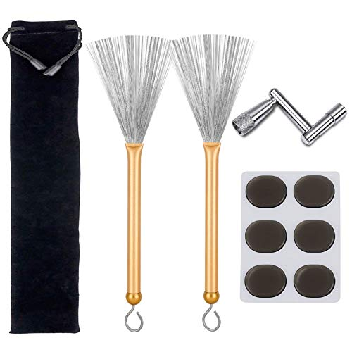 Drum Brushes Set, 1 Pair Retractable Drum Wire Brushes with Aluminum Handles, 6 Pcs Silicone Drum Dampeners Gel Pads and 1 Pcs Continuous Motion Speed Drum Key for Drummers Beginners Gifts (Gold)