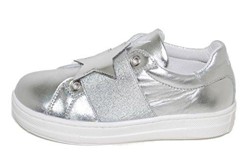 Naturino 5082 - Zapatillas de Piel Para Niña Plateado Plateado 25 EU plateado