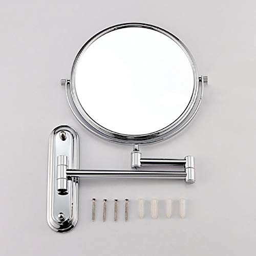 Makeup Mirror Folding Bathroom Wall-mounted Double-sided Vanity Mirror Toilet Wall Hanging Magnifying Beauty Mirror (Color : Stainless steel, Size : 6 inches) by Wall-mounted Folding Mirror (Image #5)