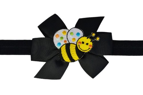 Baby and Toddler Girls Cute Critter Elastic Bow Headband (12 Months to 5 Years, Bumblebee) - Bumble Bee Hair Bow
