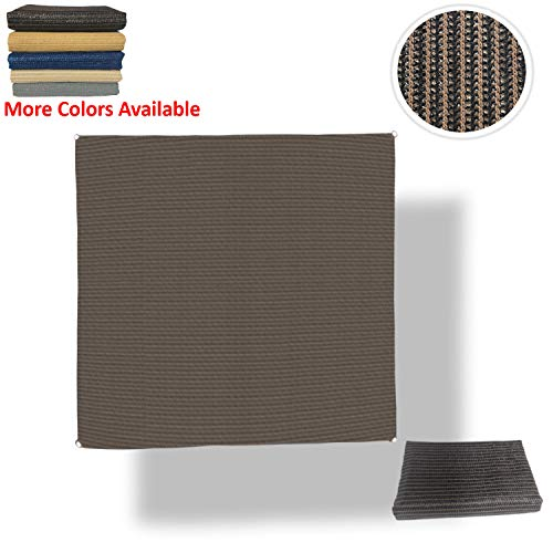 Eden's Decor Sun Shade Sail Flat-Edged Square Outdoor with Durable Thick Air-Permeable UV Block Canopy Fabric Material for Garden, Patio, Swimming Pool, Backyard, Fence, Deck (Brown, 14' X 14')