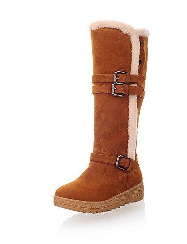 Xzz Cn39 marrón Nieve Punta Beige Uk6 Vestido Mujer Botas Redonda Eu39 Plataforma Semicuero Zapatos Orange Casual Exterior De Cn3 us8 Urxwp1Uq
