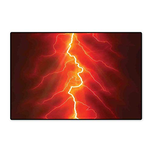 (Nature Door Mat Outside Bolt Forked Against Dark Sky Thunderstorm Intense Electrical Rays Theme Nature Art Floor Mat Pattern 32