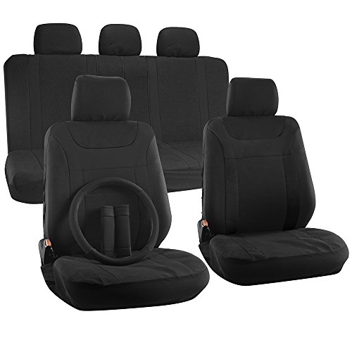 OxGord 17pc Set Flat Cloth Mesh Solid Black Y Stripe Seat Covers Set - Airbag Compatible - Front Low Back Buckets - 50/50 or 60/40 Rear Split Bench - 5 Head Rests - Universal Fit for Car, Truck, Suv, or Van - FREE Steering Wheel Cover - Chevrolet Cruze Seat