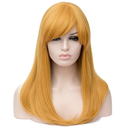 Alacos 50CM Long Straight Synthetic Heat Resistant Full Head Wig for Women Natural Soft Daily Christmas Halloween Anime Cosplay + Free Wig Cap -