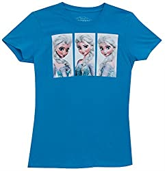 Disney Frozen Elsa Scene Box Junior's Cotton Shirt Blue Medium