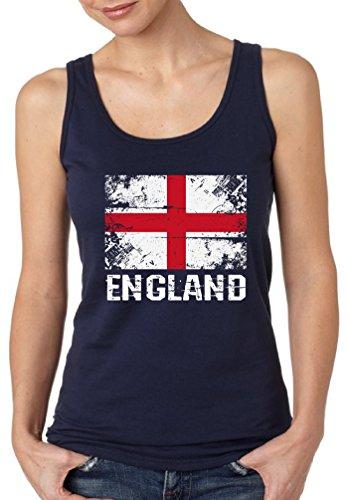 Pekatees England Tank Top for Women England Flag Shirt English Soccer 2018 Shirt Navy M (Beckham Soccer Shirt)