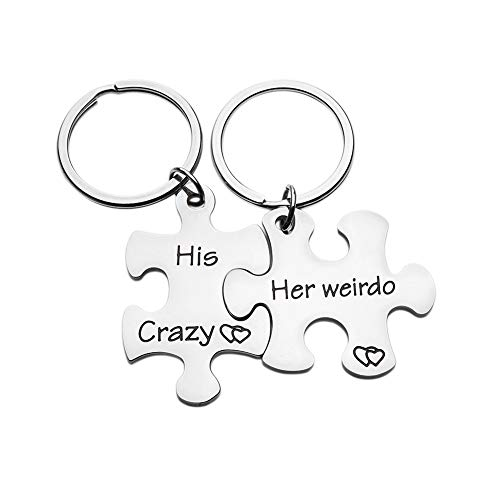 Couples Keychains Set Anniversary Valentines Day Gifts His Crazy Her Weirdo Birthday Gift Couple Husband Wife Girlfriend Boyfriend Him Her Puzzle Piece Stocking Stuffers for Men (Birthday Gift For Girlfriend Of 1 Year)