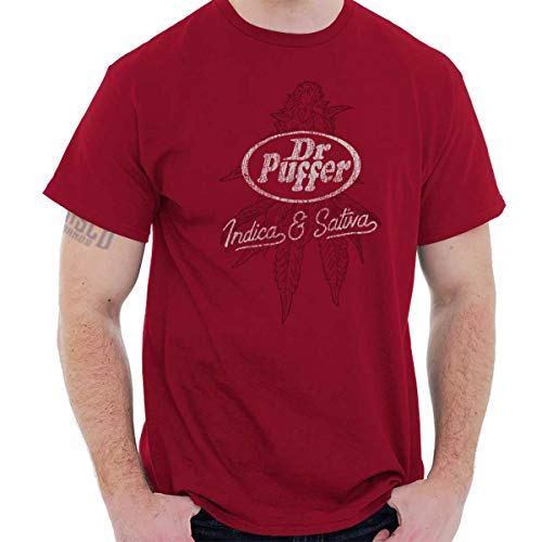 Dr Puffer Pepper Logo Funny Stoner Smoking T Shirt Tee Cardinal Red (Shirts With Weed Logo)