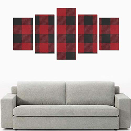 HZHENTIAN Wall Art Canvas Print Farm Wall Art Seamless Red Black Buffalo Plaid No Frame 5 Pieces Paintings Posters Prints On Canvas Hang for Bedroom Home Office Wall Decor (Buffalo Canvas On Painting)