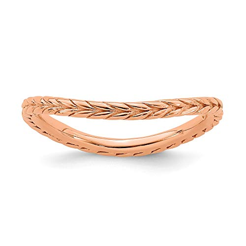 925 Sterling Silver Pink Plated Wave Band Ring Size 6.00 Stackable Curved Fine Jewelry Gifts For Women For Her from ICE CARATS