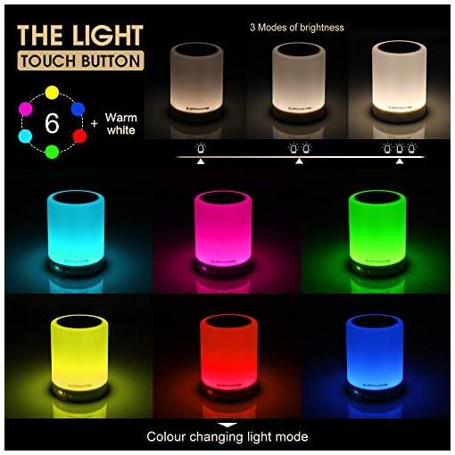 Bluetooth musica altoparlante, portatile dimmerabile Smart touch LED notte luce muisc giocatore/hands-free con TF card e USB di ricarica, 3 leva di luminosit?, 7 cambio colore