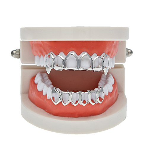 AOVR New 14k Gold Plated Hip Hop Bling Bling Teeth Fangs Grillz Caps Top & Bottom Grill Rapper Zircon Set (platinum Set)